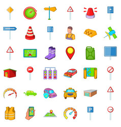 Parking icons set cartoon style vector