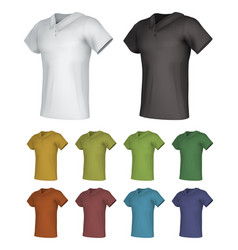 Plain male polo shirt template set vector