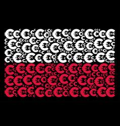 polish flag mosaic of euro items vector image