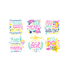 Positive inspirational and motivational quotes vector