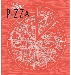 Poster love pizza coral vector image