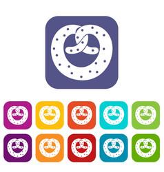 Pretzels icons set vector