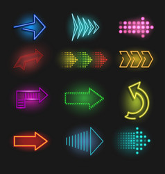 realistic neon arrow on a dark background vector image