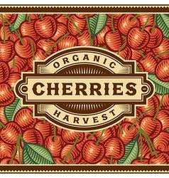 Retro Cherry Harvest Label vector image