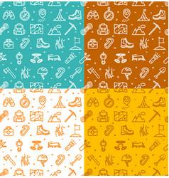 rock climbing sign seamless pattern background set vector image