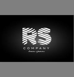 Rs r s letter alphabet logo black white icon vector