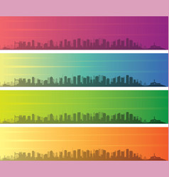 salvador multiple color gradient skyline banner vector image