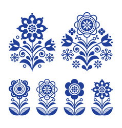 Scandinavian flowers design folk art decoration vector