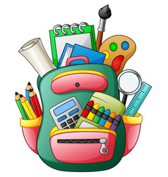 School bag with school supplies vector