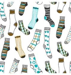 Seamless pattern of doddle socks on a white vector