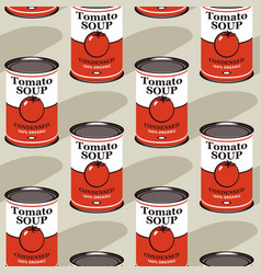 Seamless pattern with tin cans tomato soup vector