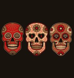 Set mexican sugar skulls vector