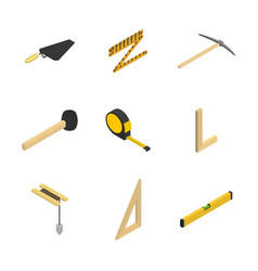 set of 3d icons tool mason vector image