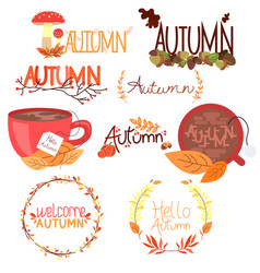 set of colorful autumn stickers with leaves and vector image
