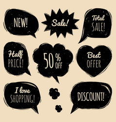 set of comic speech bubbles with sale vector image