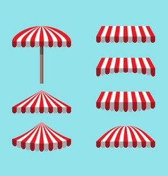 Set red white tents isolated on sky background vector
