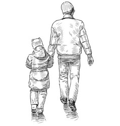 sketch father with his little daughter going vector image