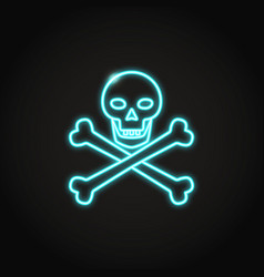 Skull and crossbones icon in glowing neon style vector
