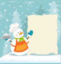 snowmans winter recipe vector image