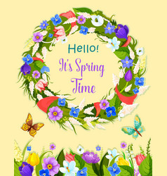 spring flowers wreath greeting card vector image