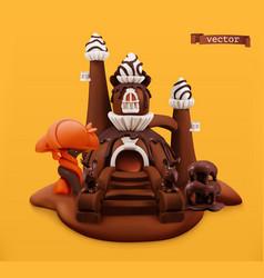 sweet chocolate castle 3d cartoon object vector image