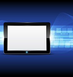 Tablet computer with technology background vector image vector image