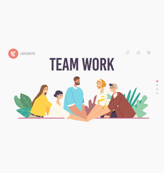Team work landing page template colleagues vector