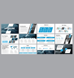 Templates of white-blue slides for presentation vector