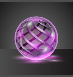 transparent sphere with colorful stripes vector image