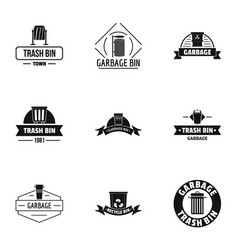 trashcan logo set simple style vector image