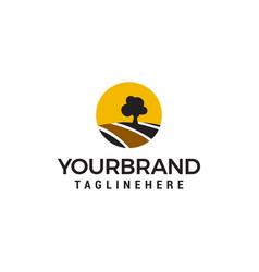 tree sun road logo design concept template vector image
