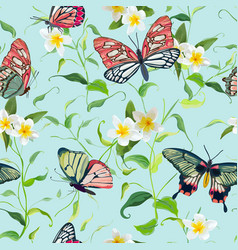 Tropical seamless pattern with flowers butterflies vector