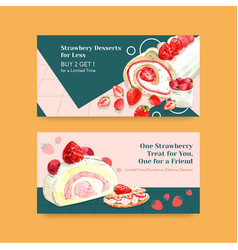 Twitter template with strawberry baking design vector