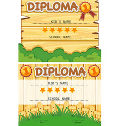 Two diploma templates with wooden board background vector