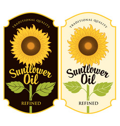 Two labels for sunflower oil with a big flower vector