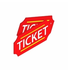 Two red tickets icon isometric 3d style vector image