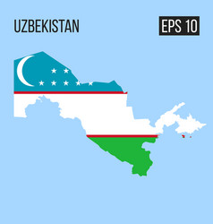 Uzbekistan map border with flag eps10 vector