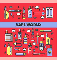 vape products promotional poster with modern vector image