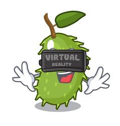 Virtual reality sweet soursop fruit in cartoon vector