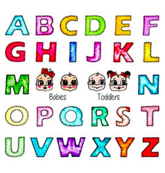 Watercolor kids alphabet isolated boy girl faces vector