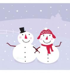 winter snowman snowwoman vector image