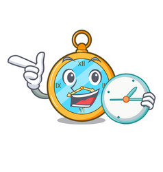 With clock classic watch isolated on a mascot vector