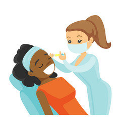 Woman receiving beauty facial injection in salon vector