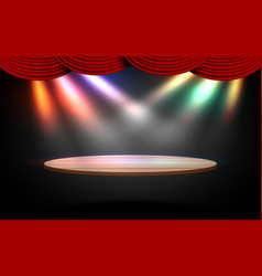 wooden podium with colorful spotlight vector image