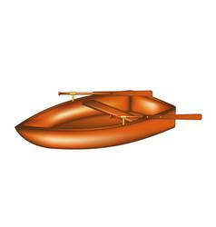 Wooden rowing boat vector