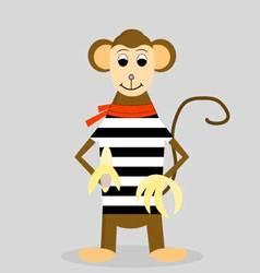Cartoon monkey with banana vector image