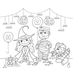 Children at Halloween party vector image vector image