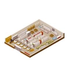 isometric supermarket cutaway vector image vector image