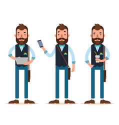 men stands with digital tablet phone coffee vector image