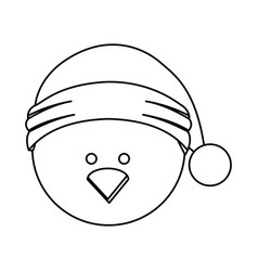 Monochrome contour of chicken head with christmas vector